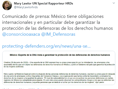 Relatora sobre personas defensoras y otros expertos de la ONU exigen garantías para Consorcio Oaxaca y castigo a los responsables de amenaza en su contra.