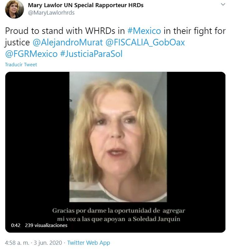 Se suma Relatora de la ONU Mary Lawlor a la campaña #HastaQueLaJusticiaLlegue