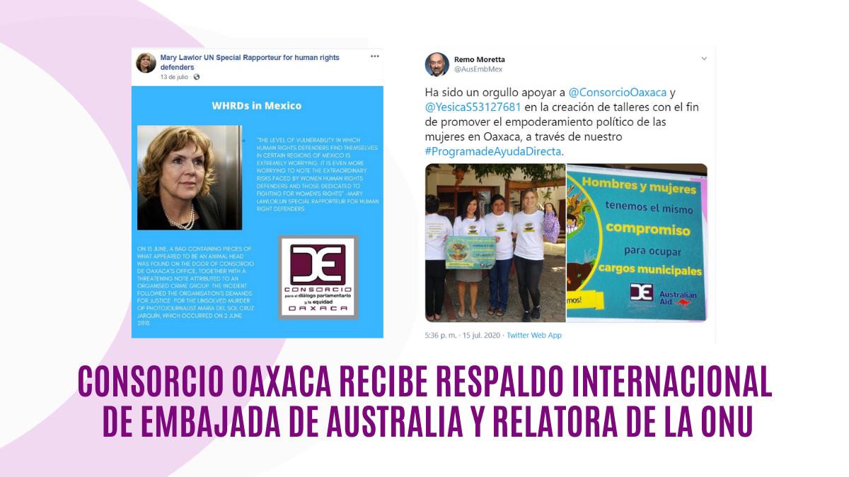 Consorcio Oaxaca recibe respaldo internacional de Embajada de Australia y Relatora de la ONU