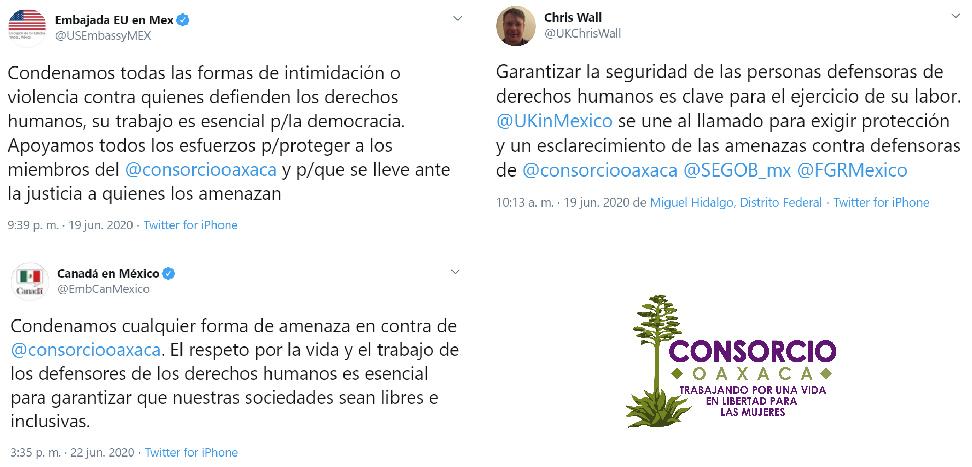 Representantes del cuerpo diplomático en México exigen protección y castigo tras amenaza contra Consorcio Oaxaca
