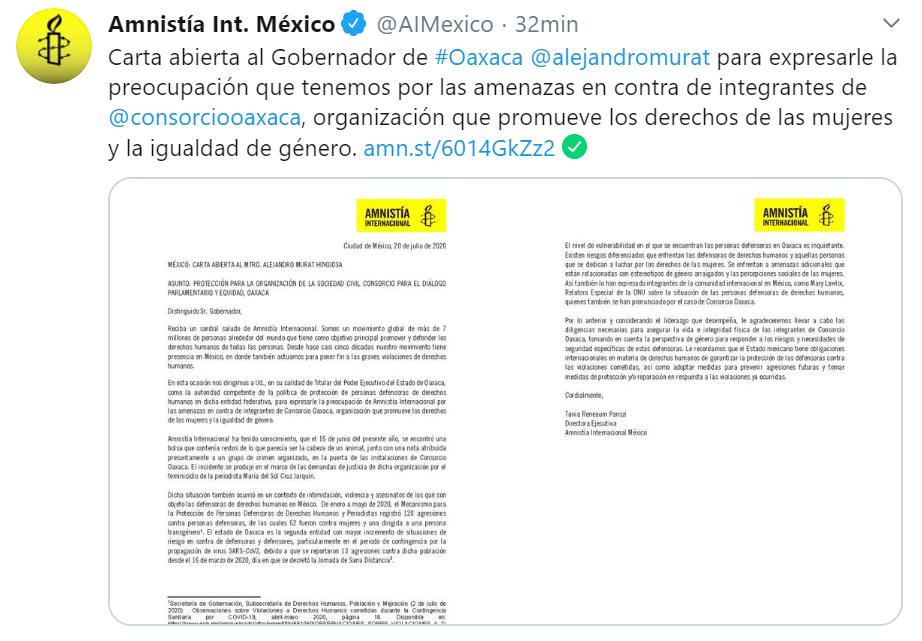 Mediante carta al Gobernador de Oaxaca, Amnistía Internacional exige protección para Consorcio Oaxaca
