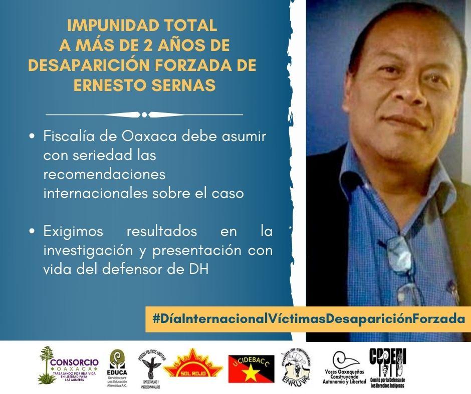 Impunidad total a más de 2 años de desaparición forzada de Ernesto Sernas
