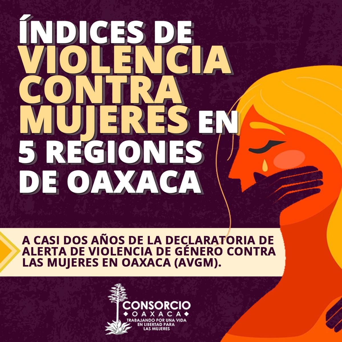 Índices de violencia contra mujeres en 5 regiones de Oaxaca