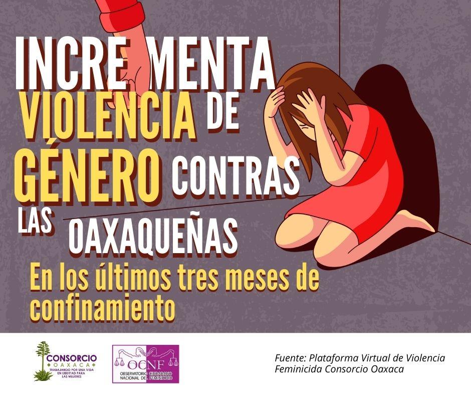 Incremento de violencia familiar y delitos sexuales contra oaxaqueñas en confinamiento.