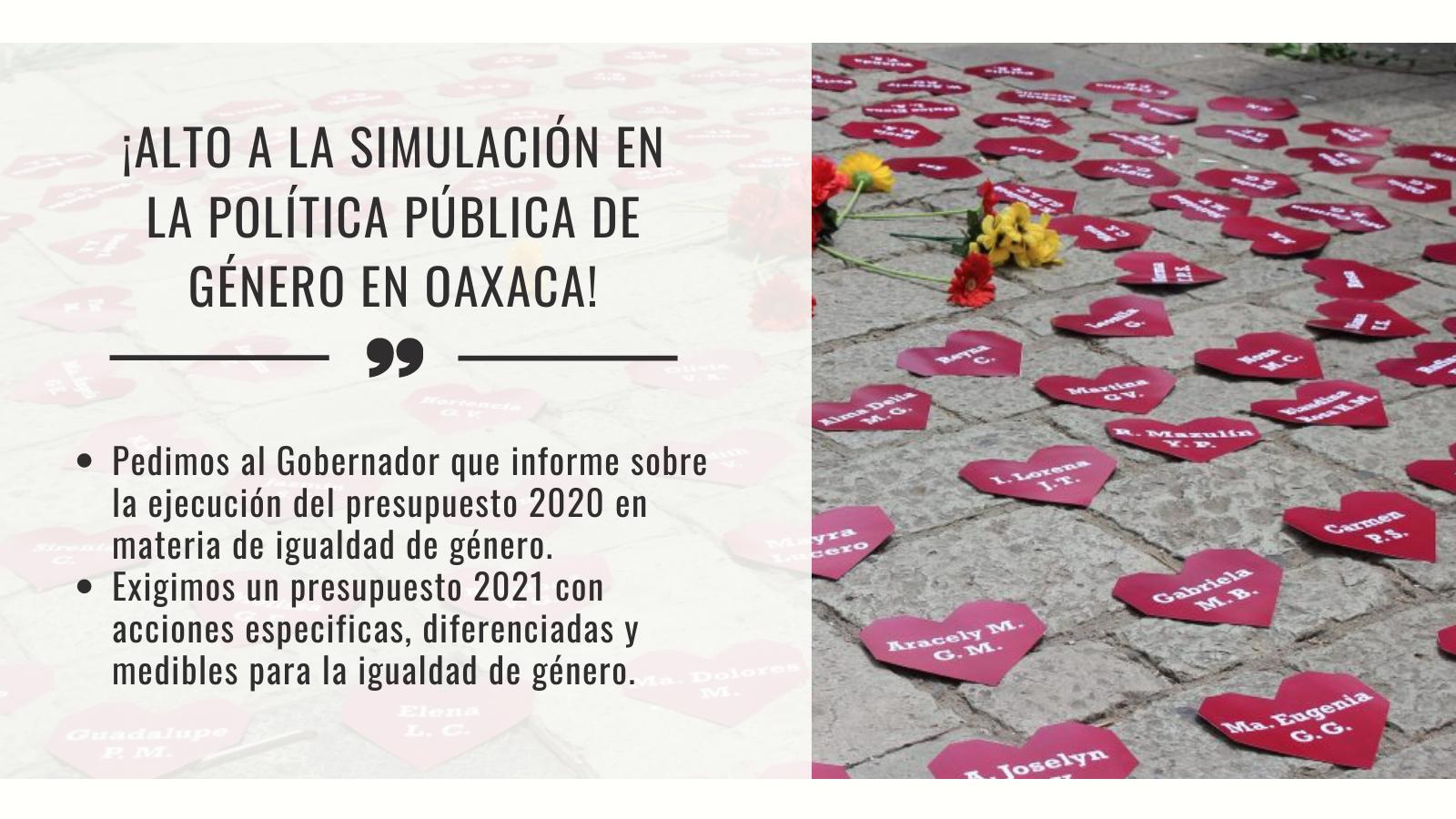 ¡Alto a la simulación en la Política Pública de Género en Oaxaca!
