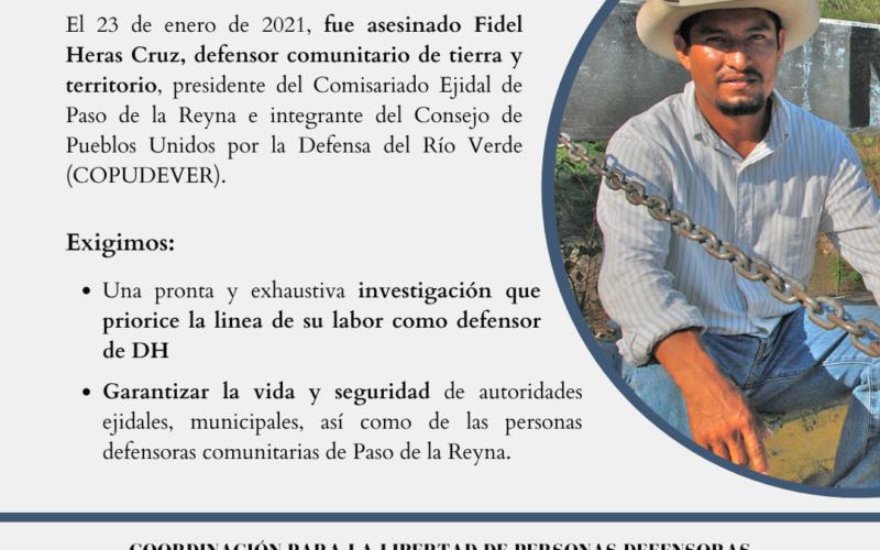 Desde la Coordinación para la Libertad de Personas Defensoras Criminalizadas en Oaxaca, repudiamos el asesinato del defensor comunitario Fidel Heras Cruz