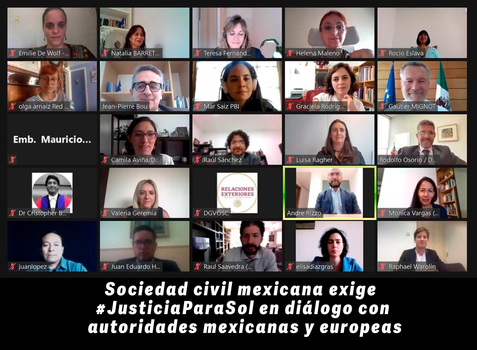 Sociedad civil mexicana exige #JusticiaParaSol en diálogo con autoridades mexicanas y europeas